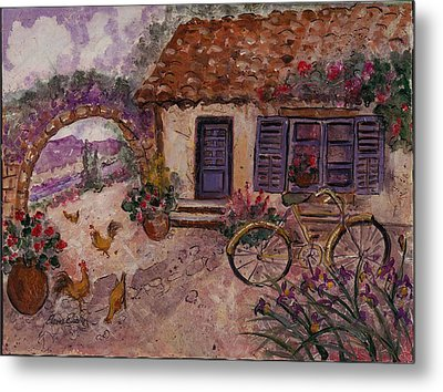 A Cottage In Provence Metal Print by Elaine Elliott