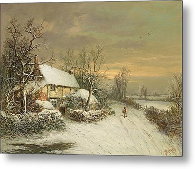 A Cottage In Winter, 19th Century Metal Print