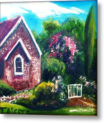 Metal Print featuring the painting A Country Church - Original Sold by Therese Alcorn