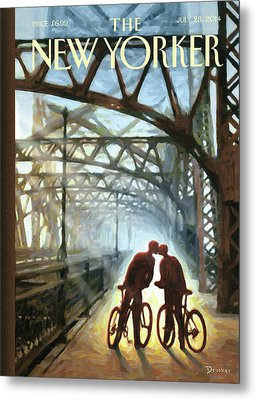 A Couple On Bikes Embrace Under The Fifty-ninth Metal Print by Eric Drooker