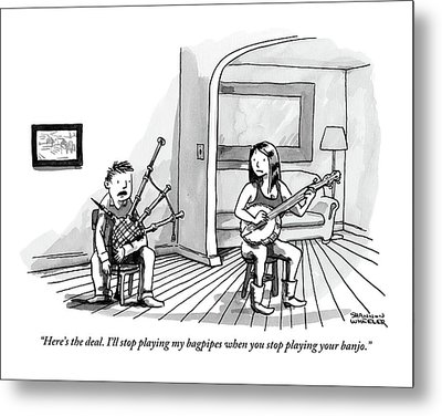 A Couple Sits In The Living Room Testing Who Metal Print by Shannon Wheeler