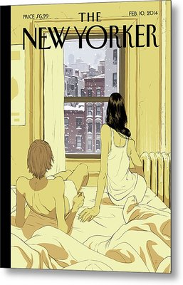 A Couple Stays In Bed While It Snows In The City Metal Print