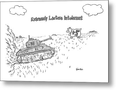 A Cow In A Pasture Watches As A Tank Approaches Metal Print by Ken Krimstein