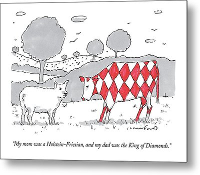 A Cow With A Red Diamond Spots Talks To Another Metal Print