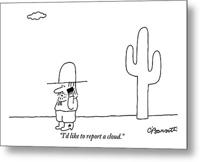 A Cowboy Talks On A Cell Phone In A Desert Metal Print