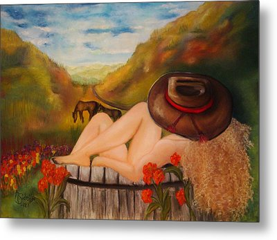 A Cowgirl Bath Metal Print