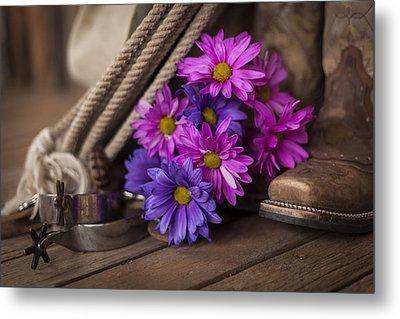 A Cowgirl's Flowers Metal Print by Amber Kresge