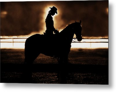 A Cowgirls Prayer Evening Ride Metal Print by Chastity Hoff