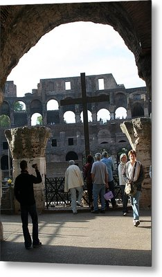 A Cross In The Coloseum Metal Print by Dick Willis