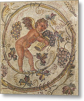 A Cupid Picking Grapes, Fragment Of Pavement From Carthage, Tunisia Mosaic Metal Print