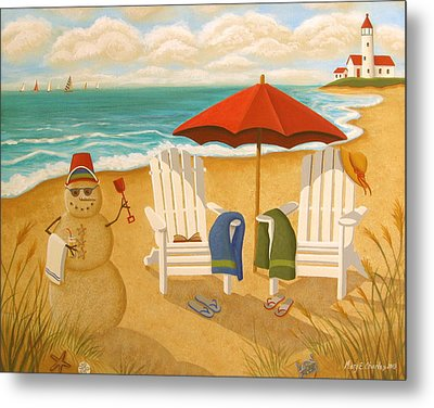 A Day At The Beach Metal Print by Mary Charles
