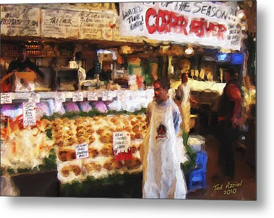 Metal Print featuring the painting A Day At The Fish Market by Ted Azriel