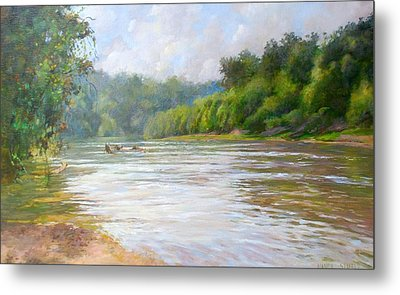 A Day At The River  Metal Print