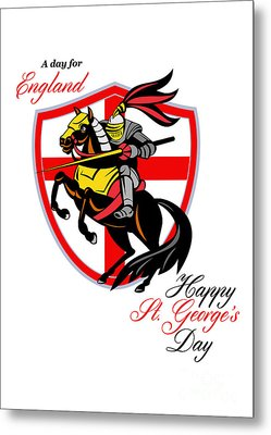 A Day For England Happy St George Day Retro Poster Metal Print by Aloysius Patrimonio