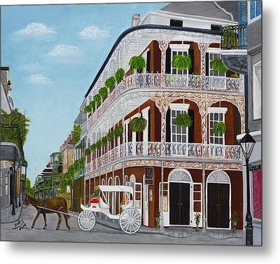 A Carriage Ride In The French Quarter Metal Print by Judy Jones