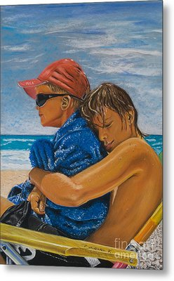 A Day On The Beach Metal Print