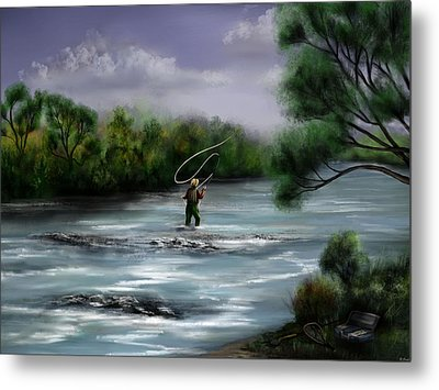 A Day On The Stream - Flyfishing Metal Print