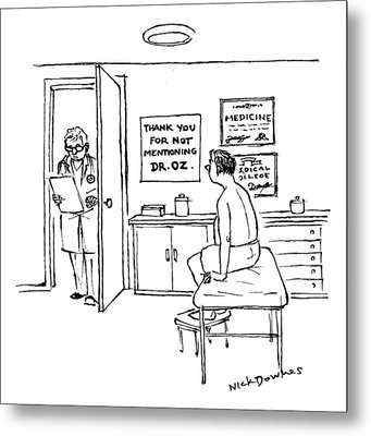 A Doctor Walks Into An Office Where A Patient Metal Print