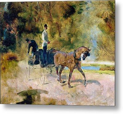 A Dog-cart, 1880 Oil On Canvas Metal Print by Henri de Toulouse-Lautrec