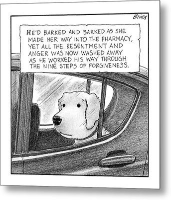 A Dog Looks Out Of A Car Window.  Title: He'd Metal Print