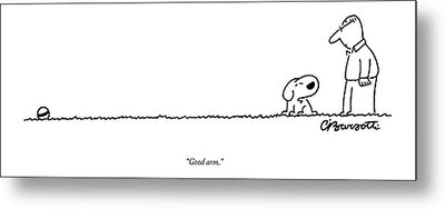 A Dog Speaks To A Man Metal Print by Charles Barsotti