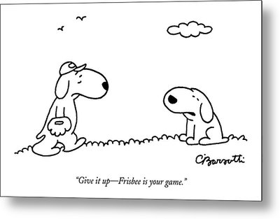 A Dog Talks To Another Dog Wearing Baseball Gear Metal Print by Charles Barsotti