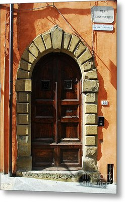 A Door In Tuscany Metal Print by Mel Steinhauer