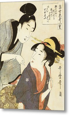 A Double Half Length Portrait Of A Beauty And Her Admirer  Metal Print by Kitagawa Utamaro