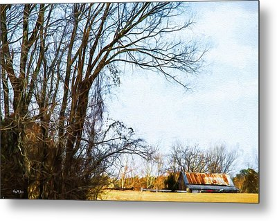 Farm - Barn - A Drive In The Country Metal Print by Barry Jones