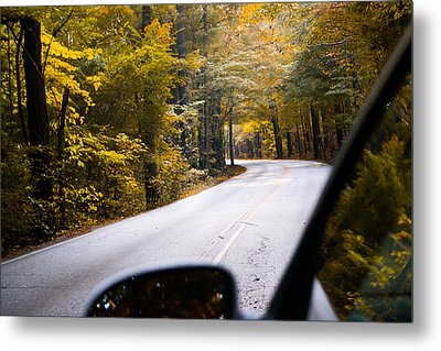 A Drive Through Autumn Metal Print by Shelby  Young