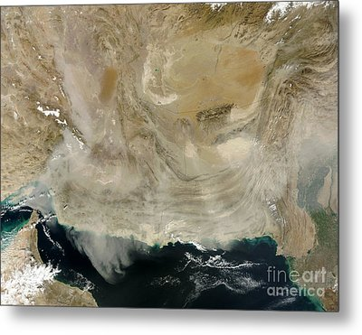 A Dust Storm Stretching From The Coast Metal Print by Stocktrek Images