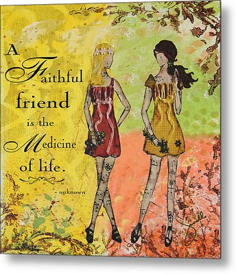 A Faithful Friend Inspirational Christian Artwork  Metal Print