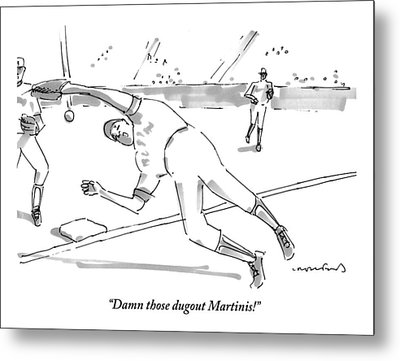 A Falling Baseball Player Fails To Catch A Ball Metal Print by Michael Crawford