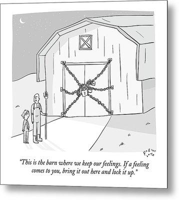 A Farmer Shows His Son A Barn That Is Locked Metal Print