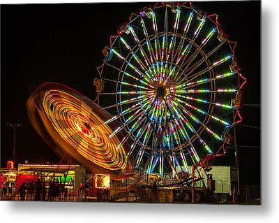 Metal Print featuring the photograph Colorful Carnival Ferris Wheel Ride At Night by Jerry Cowart