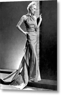A Fashion Shot From France Showing An Evening Dress With Its Dou Metal Print