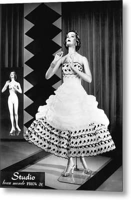 A Fashionable Mannequin And Her Unclothed Version In The Backgro Metal Print by Underwood Archives