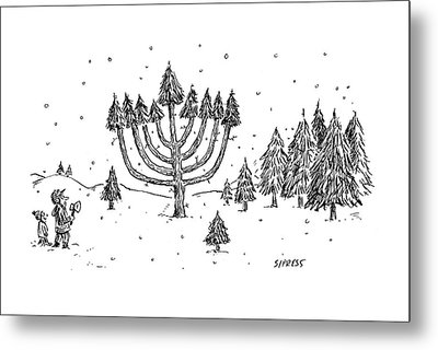 A Father And Child See A Menorah-shaped Christmas Metal Print