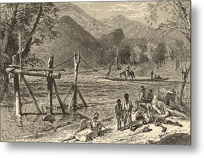 A Ferry On The French Broad 1872 Engraving Metal Print by Antique Engravings