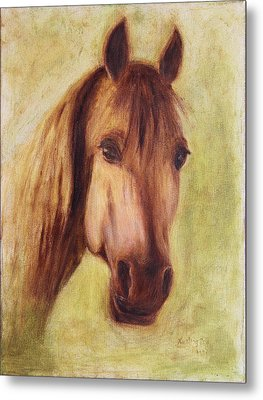 Metal Print featuring the painting A Fine Horse by Xueling Zou