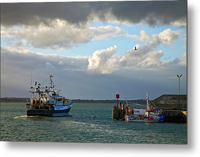 A Fishing Boat Leaving Inthe Newly Metal Print by Panoramic Images