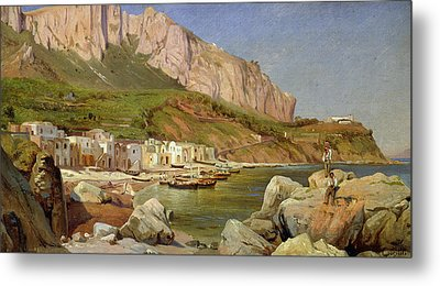 A Fishing Village At Capri Metal Print by Louis Gurlitt