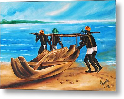 Metal Print featuring the painting A Float On The Ocean by Ragunath Venkatraman