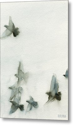 A Flock Of Pigeons 1 Watercolor Painting Of Birds Metal Print