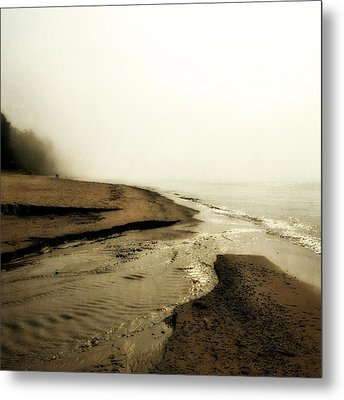 A Foggy Day At Pier Cove Beach Metal Print by Michelle Calkins