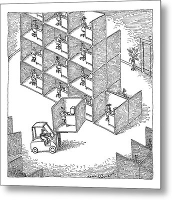A Forklift Lifts A Cubicle And Moves To Stack Metal Print by John O'Brien