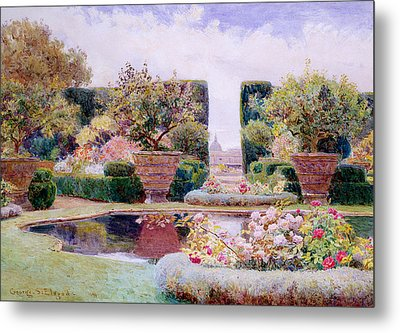 A Formal Garden In Rome Metal Print by George Samuel Elgood