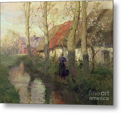 A French River Landscape With A Woman By Cottages Metal Print by Fritz Thaulow