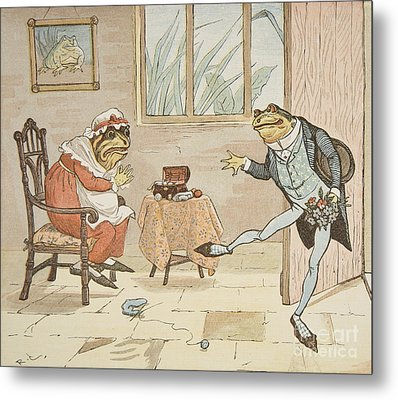 A Frog He Would A Wooing Go Metal Print by Randolph Caldecott