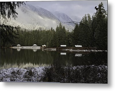 Metal Print featuring the pyrography A Frost Day At The Lake. by Timothy Latta